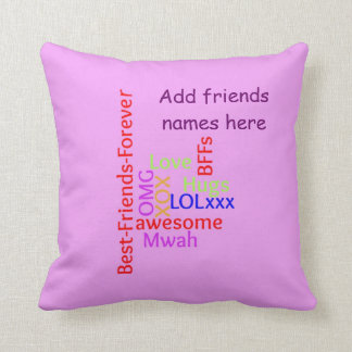 Add names BFF best friends forever TagCloud pillow
