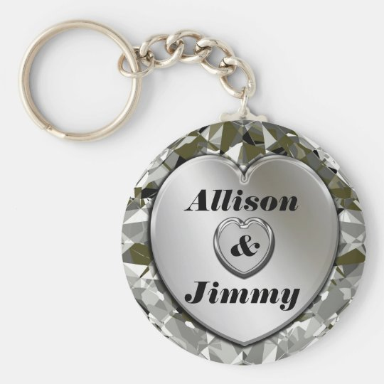 Add Names Elegant Silver Heart & Diamonds Keychain