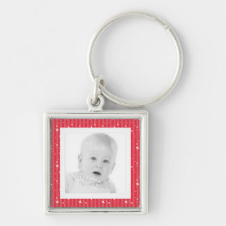 Add Photo Cute Red and Pink Stripes Silver-Colored Square Key Ring