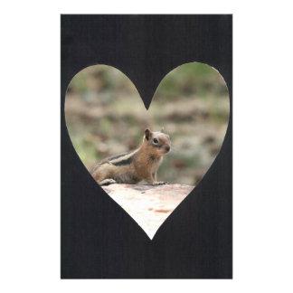 Add Photo Heart Frame(black) Personalized Stationery