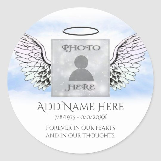 Add Photo Memorial Round Sticker