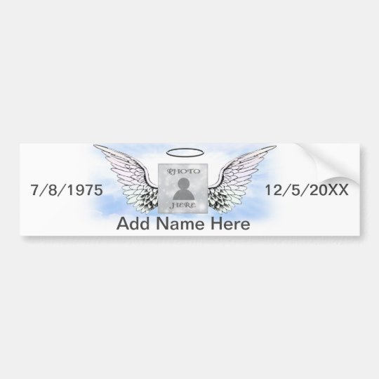 Add Photo | Memorial Wings Bumper Sticker