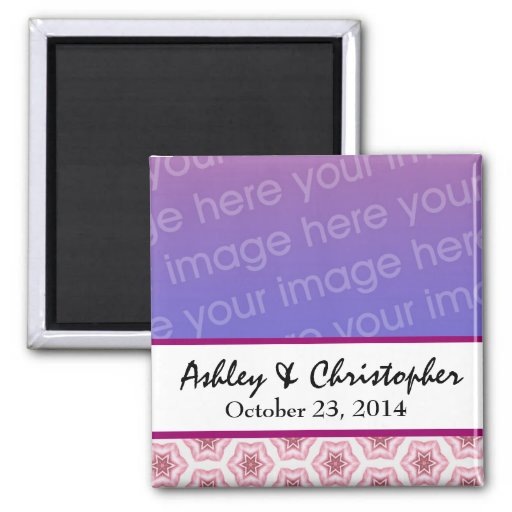 Add Photo Star Damask Save the Date Magnet