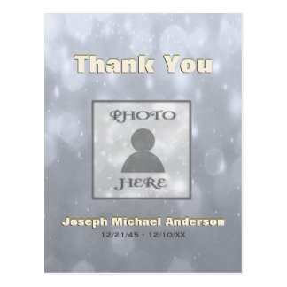 Add Picture| Thank You | Gold Silver Postcard
