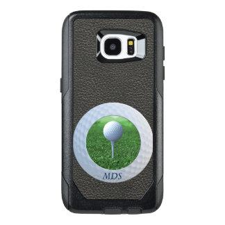 Add Square Photo to Golf Ball Frame Monogram Black OtterBox Samsung Galaxy S7 Edge Case