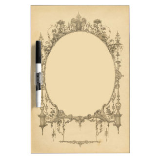 Add text & image to ornate vintage frame, border dry erase board