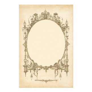 Add text & image to ornate vintage frame, border personalized stationery