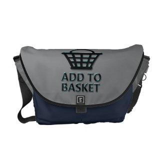 Add to basket concept. courier bag