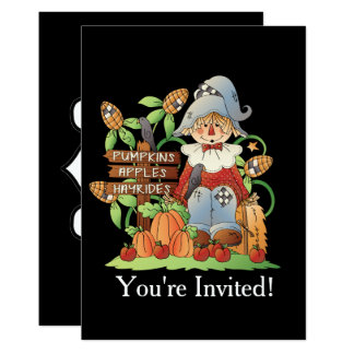 Add words Fall scarecrow Seasonal invitation