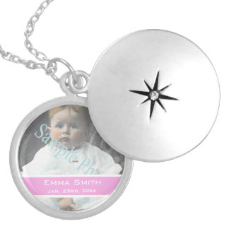 add your baby photo and name, birthday pink love round locket necklace