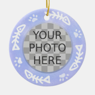 Add Your Cat's Photo: Fish and Pawprints Round Ceramic Decoration