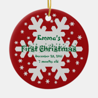 Add Your Child's Name Baby's 1st Christmas Ornamen Round Ceramic Decoration