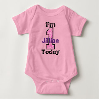 Add Your Child's Name I'm 1 Today Birthday Girl Sh Baby Bodysuit