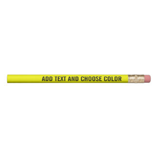 Add Your Custom Text and colour - yellow black Pencil