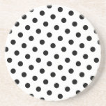 Add Your Favourite Colour to Black Polka Dots Beverage Coaster