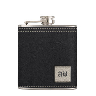 Add your initials - white and  black leather hip flask