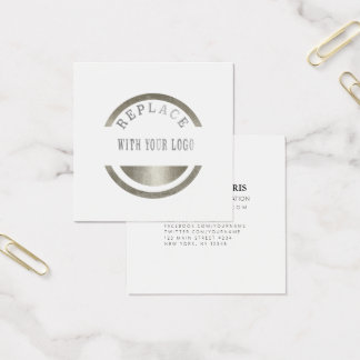 ADD Your Logo    Instagram Photo   Replace LOGO Square Business Card