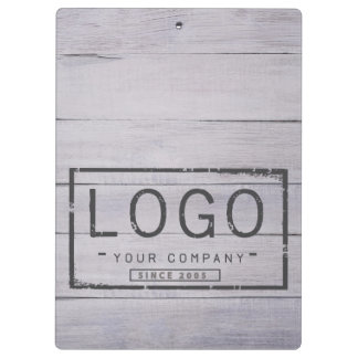 Add your logo on grey wood boards clipboard