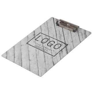 Add your logo on grey wooden boards clipboard
