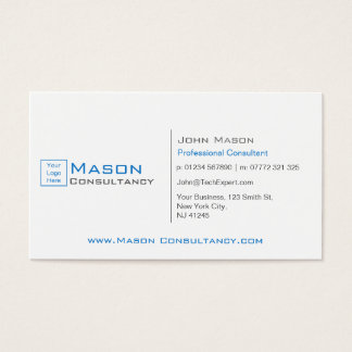 Add Your Logo White and Blue - Business Card