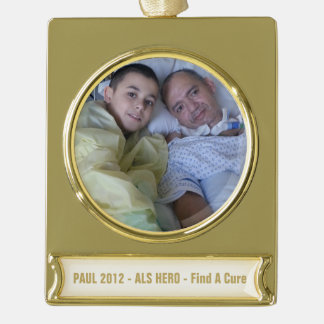 Add your loved one & text Banner  Gold Plated Gold Plated Banner Ornament