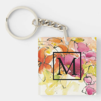 Add Your Monogram | Pattys Plum Double-Sided Square Acrylic Key Ring