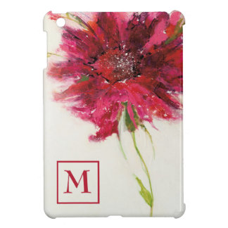 Add Your Monogram | Pink Daisy on White Case For The iPad Mini