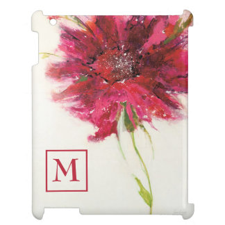 Add Your Monogram | Pink Daisy on White iPad Cases