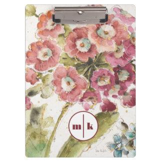 Add Your Monogram | Pink Primrose Clipboard