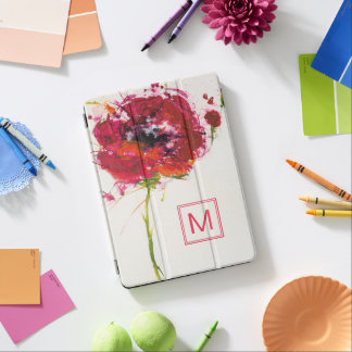 Add Your Monogram | Poppy on White iPad Air Cover
