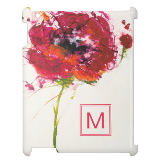 Add Your Monogram | Poppy on White iPad Cover