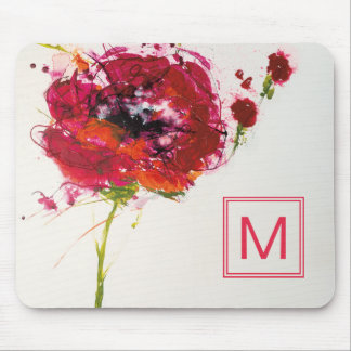 Add Your Monogram | Poppy on White Mouse Mat