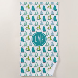 Add Your Monogram | Sailboats On The Water Pattern Beach Towel