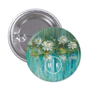 Add Your Monogram | Water Lily Pond 3 Cm Round Badge