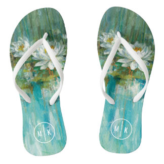 Add Your Monogram | Water Lily Pond Flip Flops