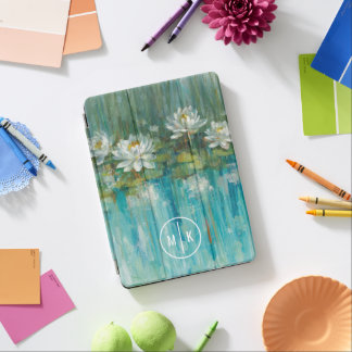 Add Your Monogram | Water Lily Pond iPad Air Cover