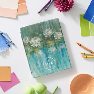 Add Your Monogram | Water Lily Pond iPad Cover