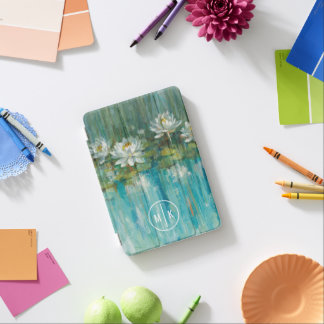 Add Your Monogram | Water Lily Pond iPad Mini Cover