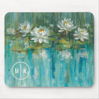 Add Your Monogram | Water Lily Pond Mouse Pad