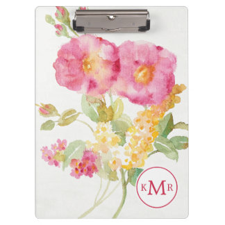 Add Your Monogram | White Daisy on Blue Clipboard