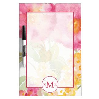 Add Your Monogram   White Daisy on Blue Dry Erase Whiteboard