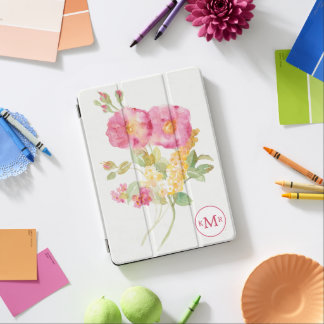 Add Your Monogram | White Daisy on Blue iPad Air Cover