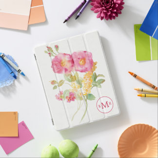 Add Your Monogram | White Daisy on Blue iPad Cover