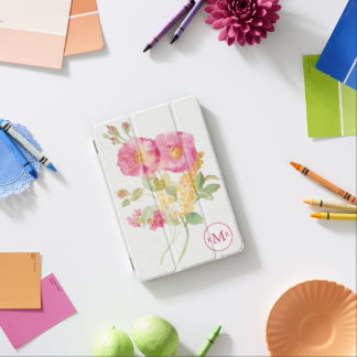 Add Your Monogram | White Daisy on Blue iPad Mini Cover