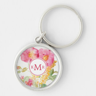 Add Your Monogram | White Daisy on Blue Key Ring