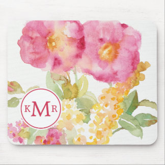 Add Your Monogram | White Daisy on Blue Mouse Mat