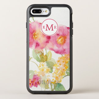 Add Your Monogram | White Daisy on Blue OtterBox Symmetry iPhone 8 Plus/7 Plus Case