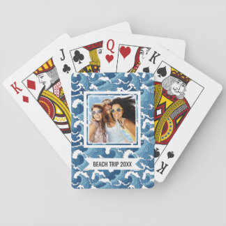 Add Your Name   Abstract Waves Playing Cards