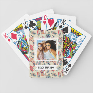 Add Your Name | Beach Hut Pattern Bicycle Playing Cards