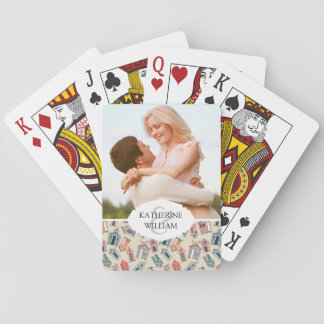 Add Your Name | Beach Hut Pattern Playing Cards